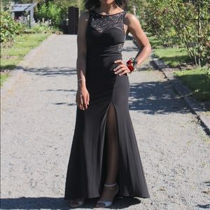 Black Laced Evening Gown